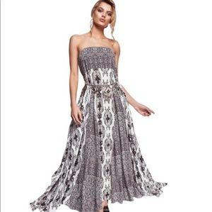 Free People Black & White Strapless Maxi Dress